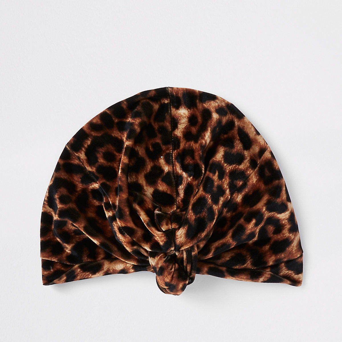Brown leopard print twist turban headband