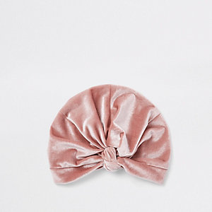 Bandeau turban en velours rose clair torsadé