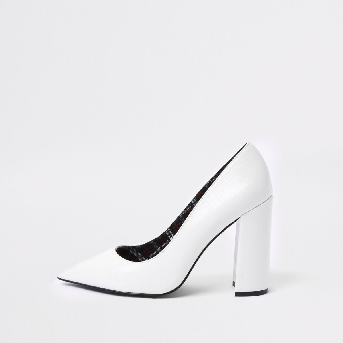 White croc embossed razor heel pumps