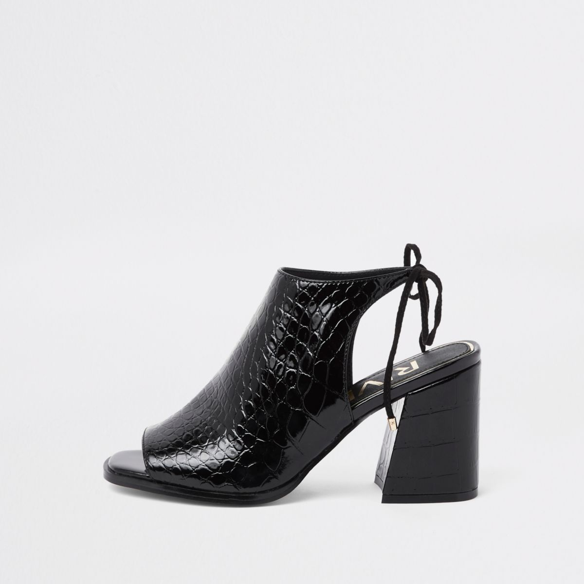 Black croc tie back block heel shoe boots