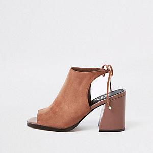 Pink tie back block heel shoe boots