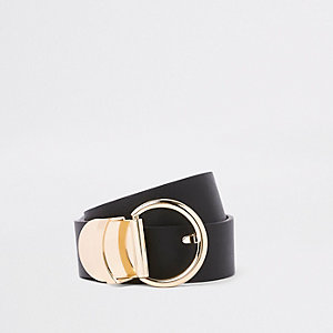 Black curved gold tone ring jeans belt