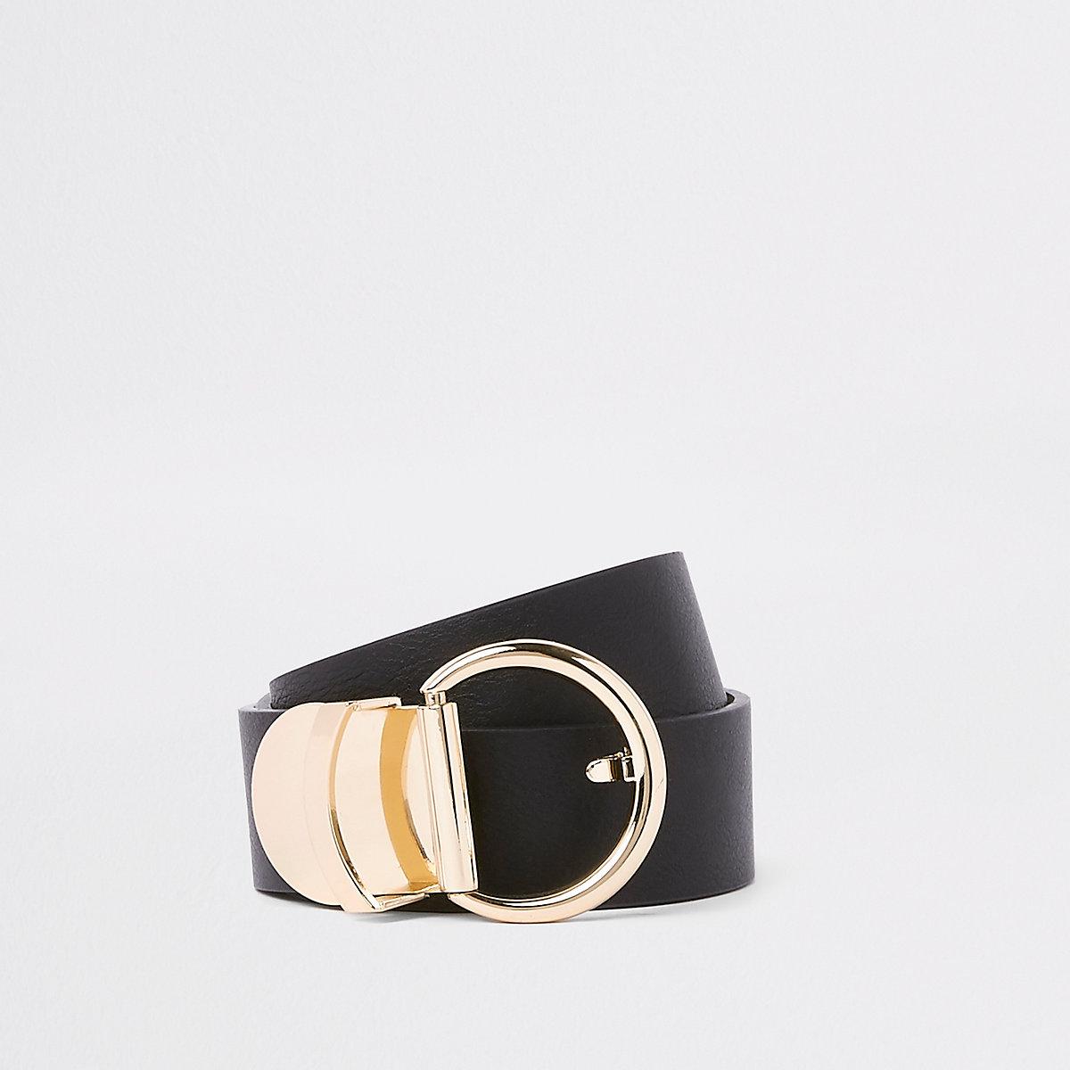 Black curved gold tone ring jeans belt