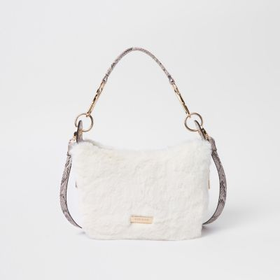 Cream Zip Faux Fur Scoop Cross Body Bag by River Island