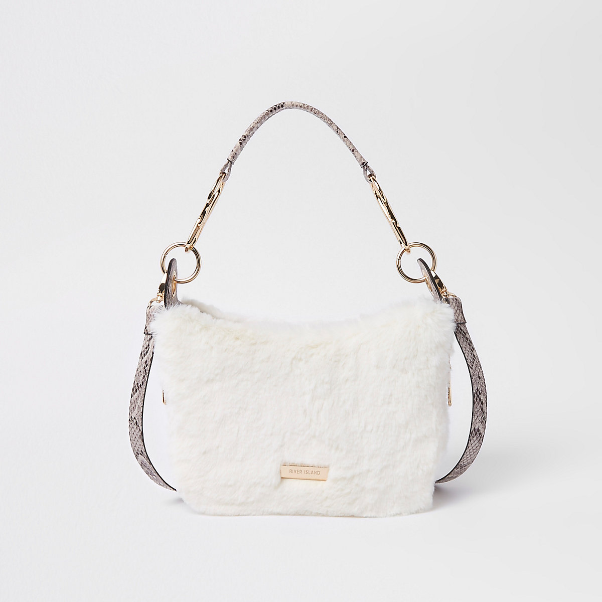 Cream zip faux fur scoop cross body bag