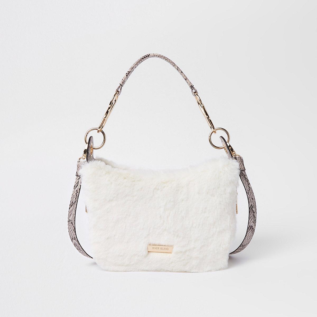 Cream zip faux fur scoop cross body bag