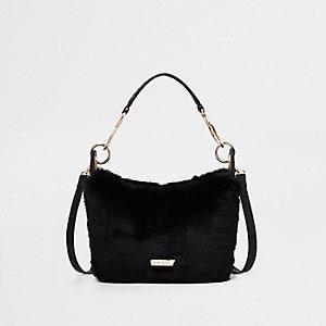Black Zip Faux Fur Scoop Cross Body Bag