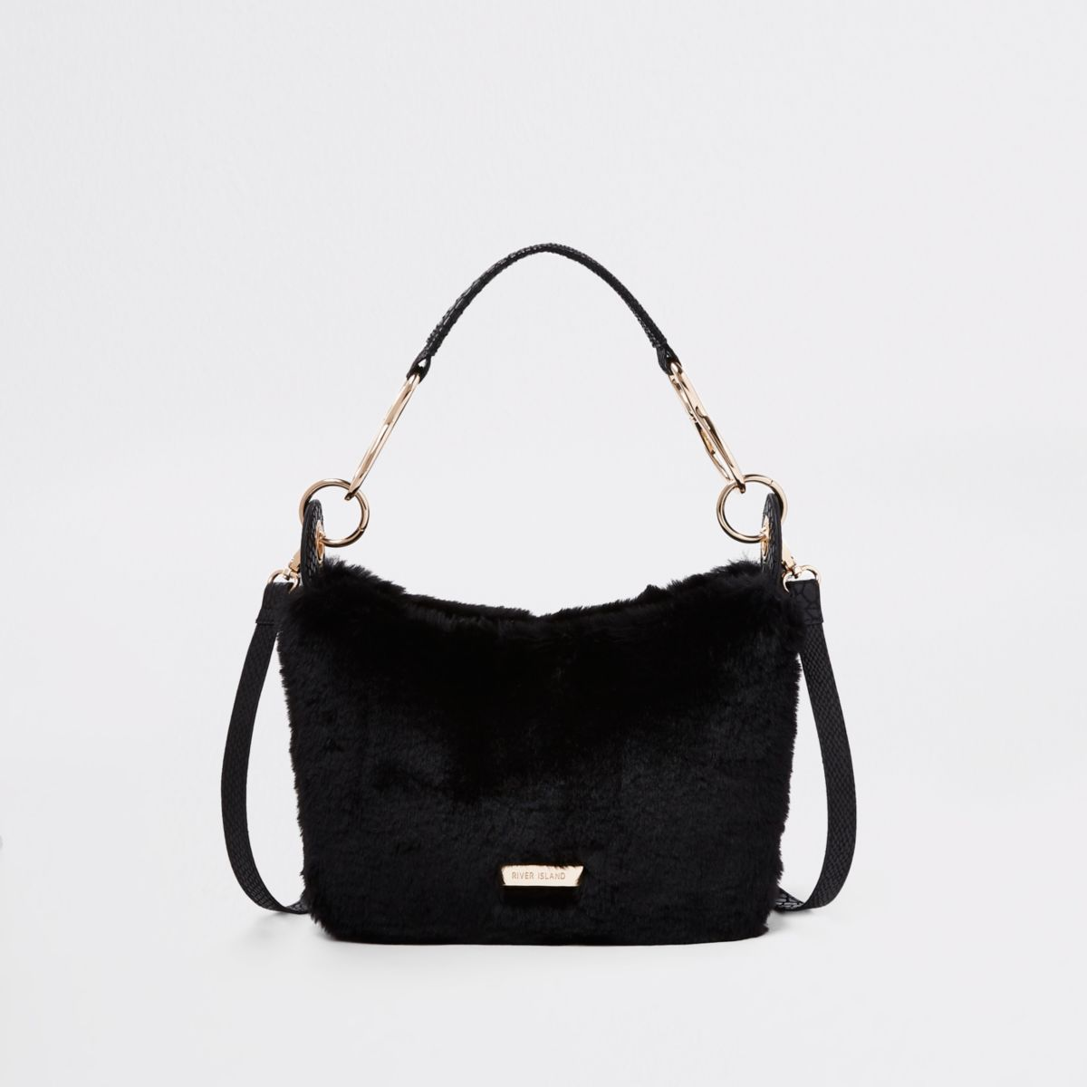 Black zip faux fur scoop cross body bag