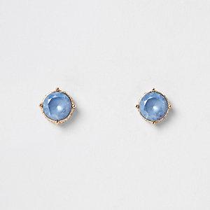 Light blue gold tone rhinestone pave earrings