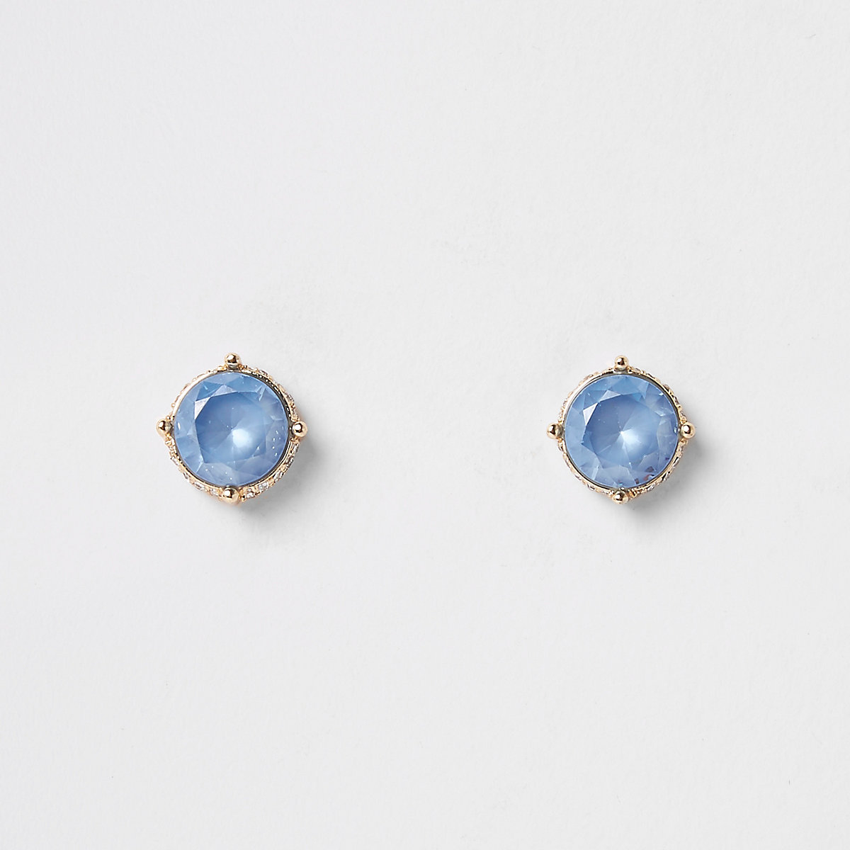 Light blue gold tone diamante pave earrings