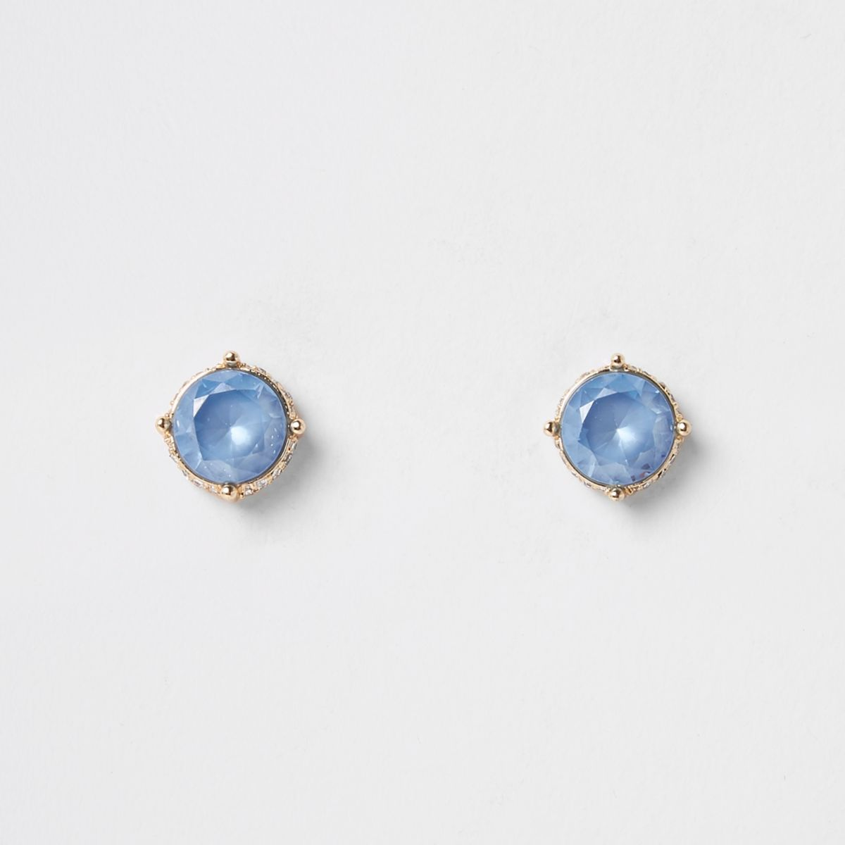 Light blue gold tone diamante pave earrings