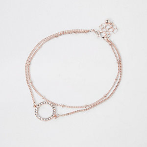 Rose gold circle rhinestone jewel anklet