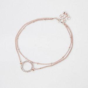 Bracelet de cheville or rose à cercle orné de strass