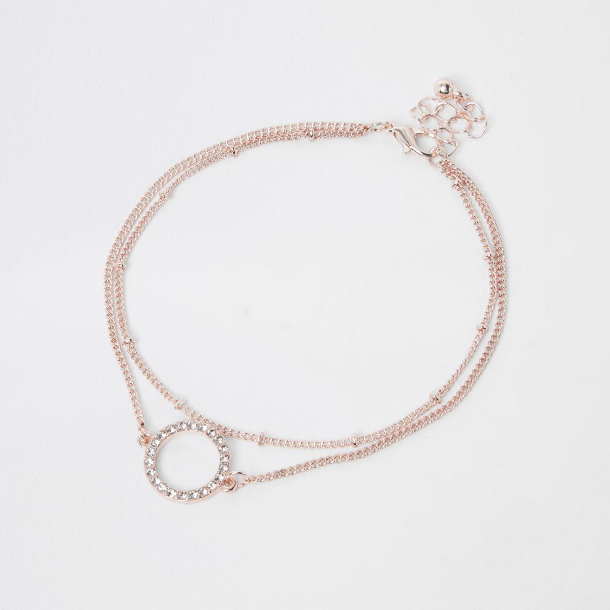 Rose gold circle rhinestone jewel anklet