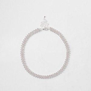 Silver tone thin diamante choker