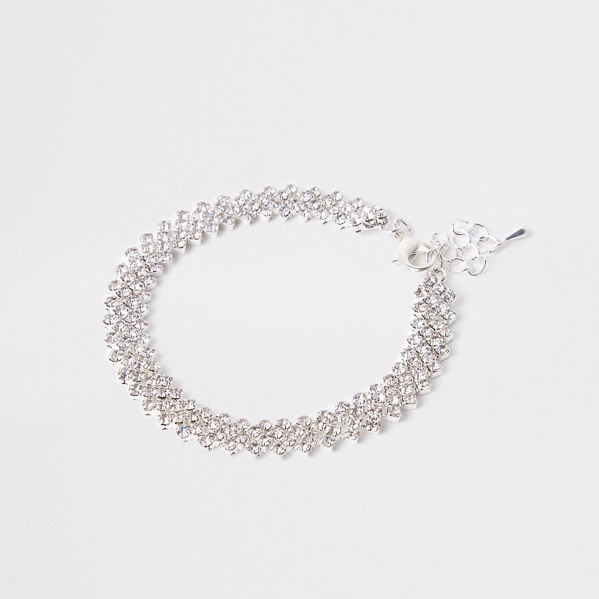 Silver tone layered rhinestone bracelet