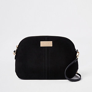 Black kettle zip cross body bag