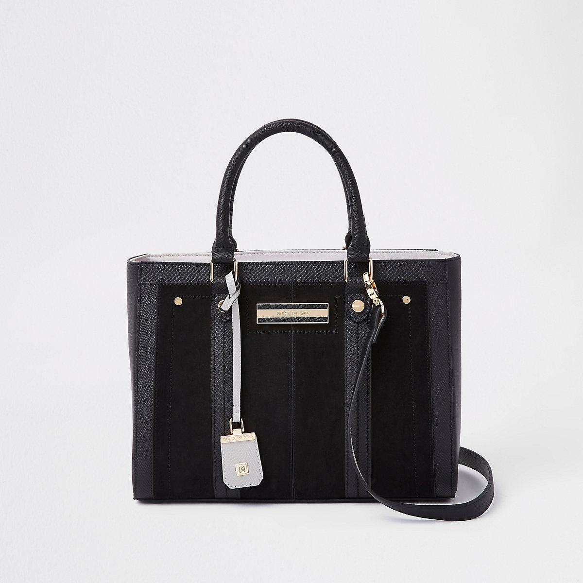 Black faux leather boxy tote bag