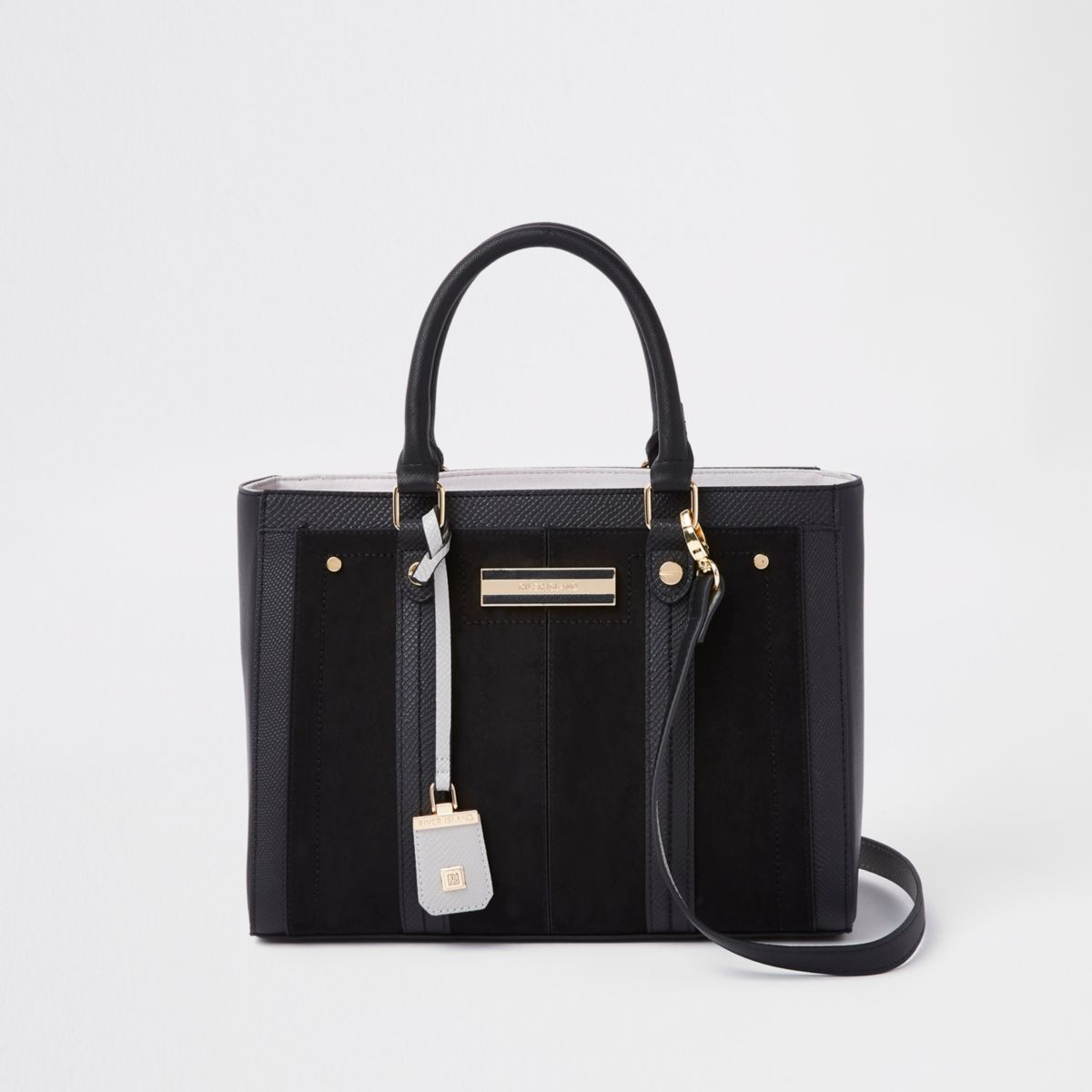 Black faux leather boxy tote bag
