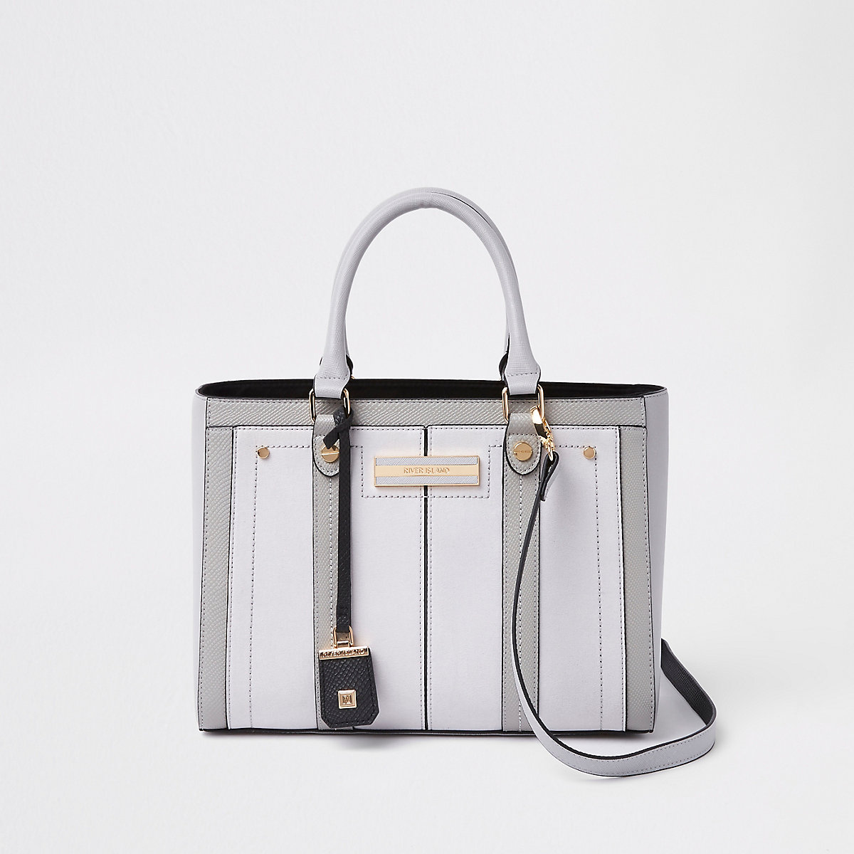 Light grey faux leather boxy tote bag