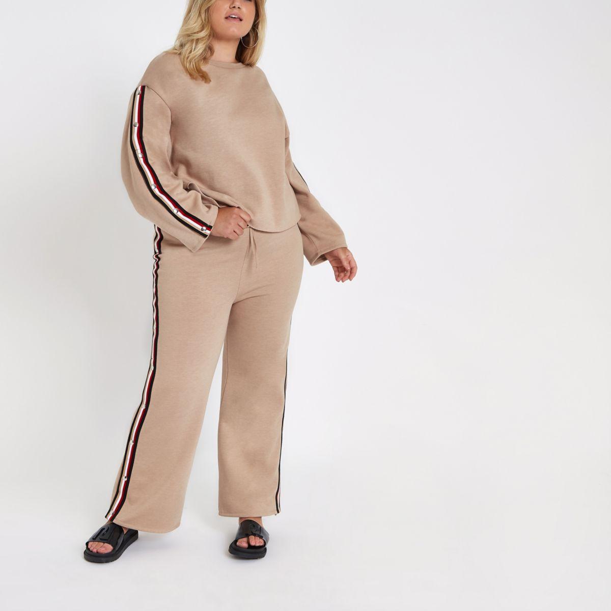 Plus – Pantalon de jogging beige à bandes et boutons pression sur le côté