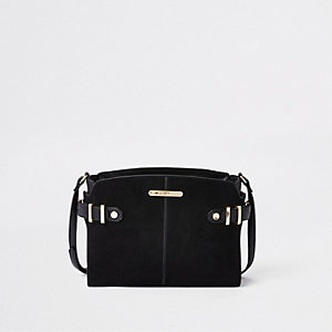 Black medium tab side cross body bag