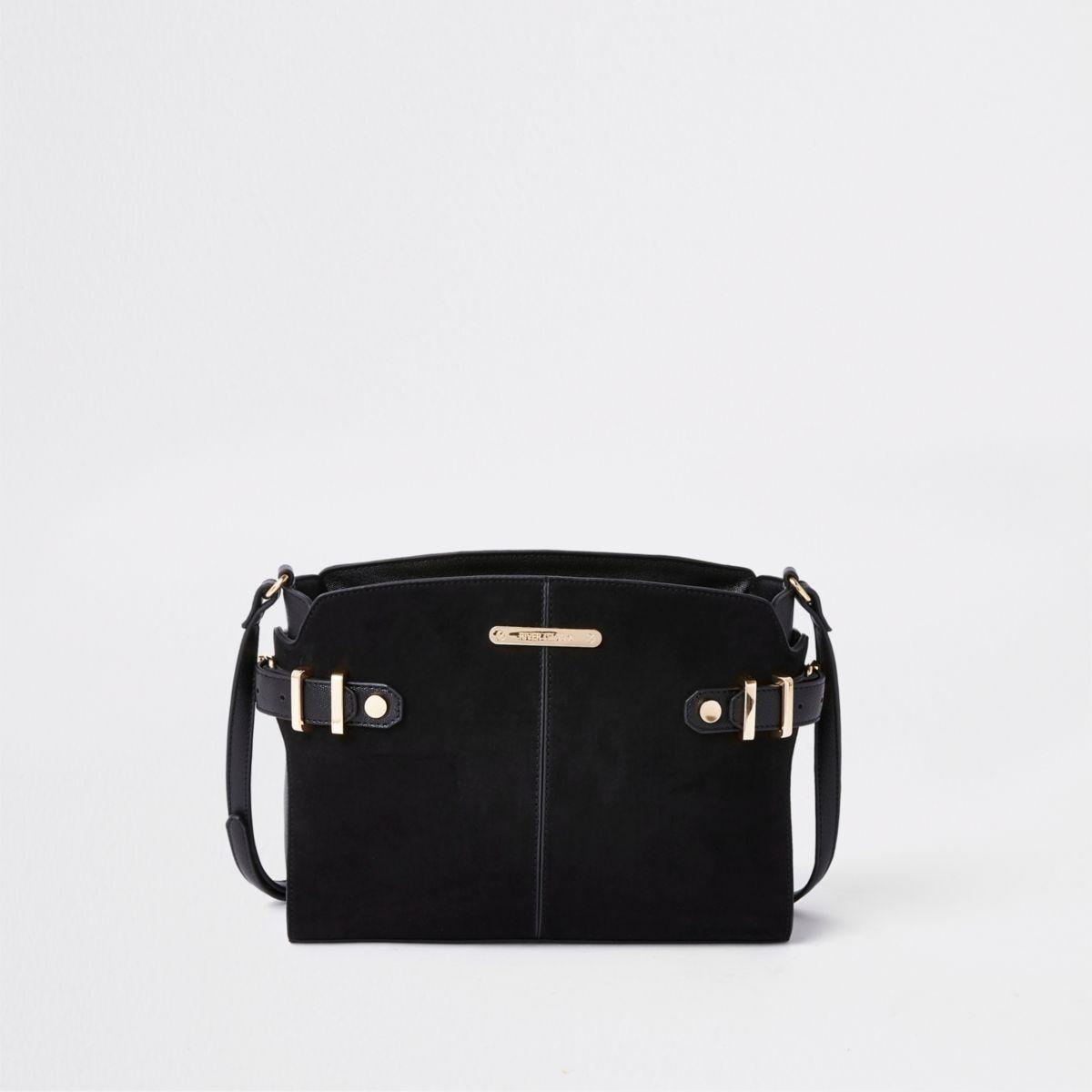 Black medium tab side cross body bag