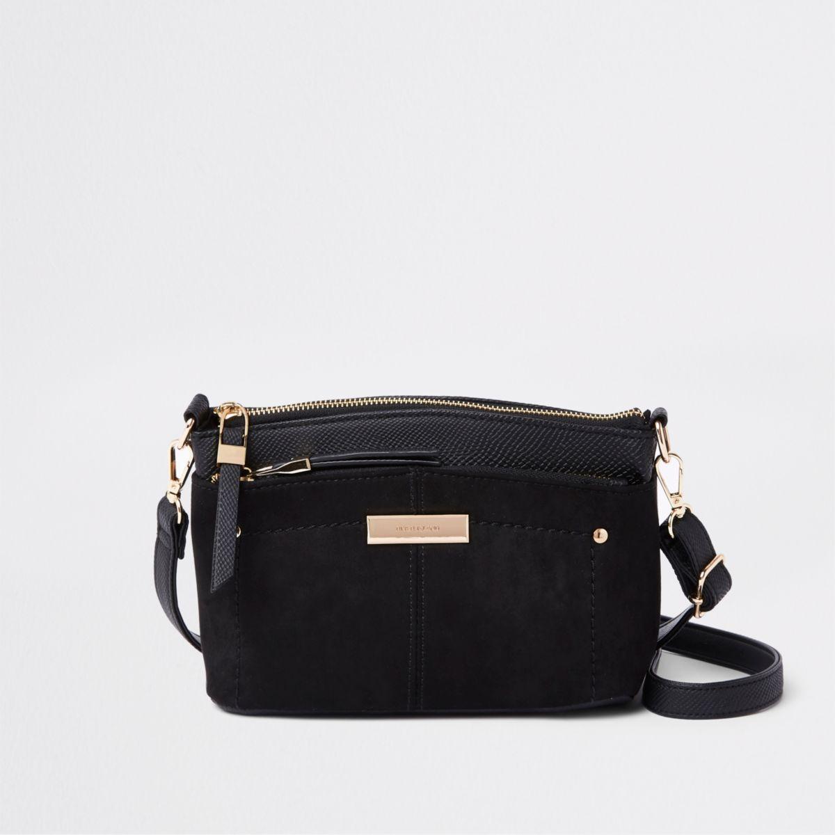 Zwarte tas met drie vakken