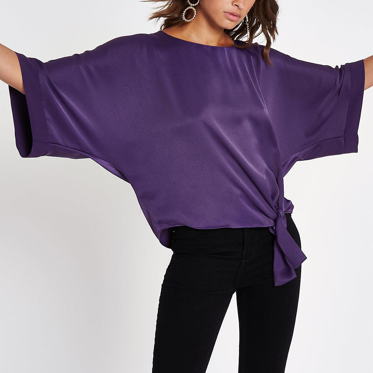 Bright purple knot side T-shirt