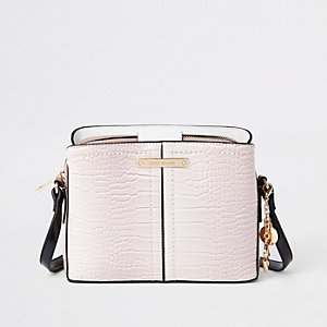 Cream croc open top triple compartment bag