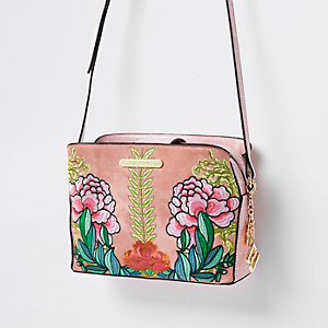Pink Fl Open Top Triple Compartment Bag