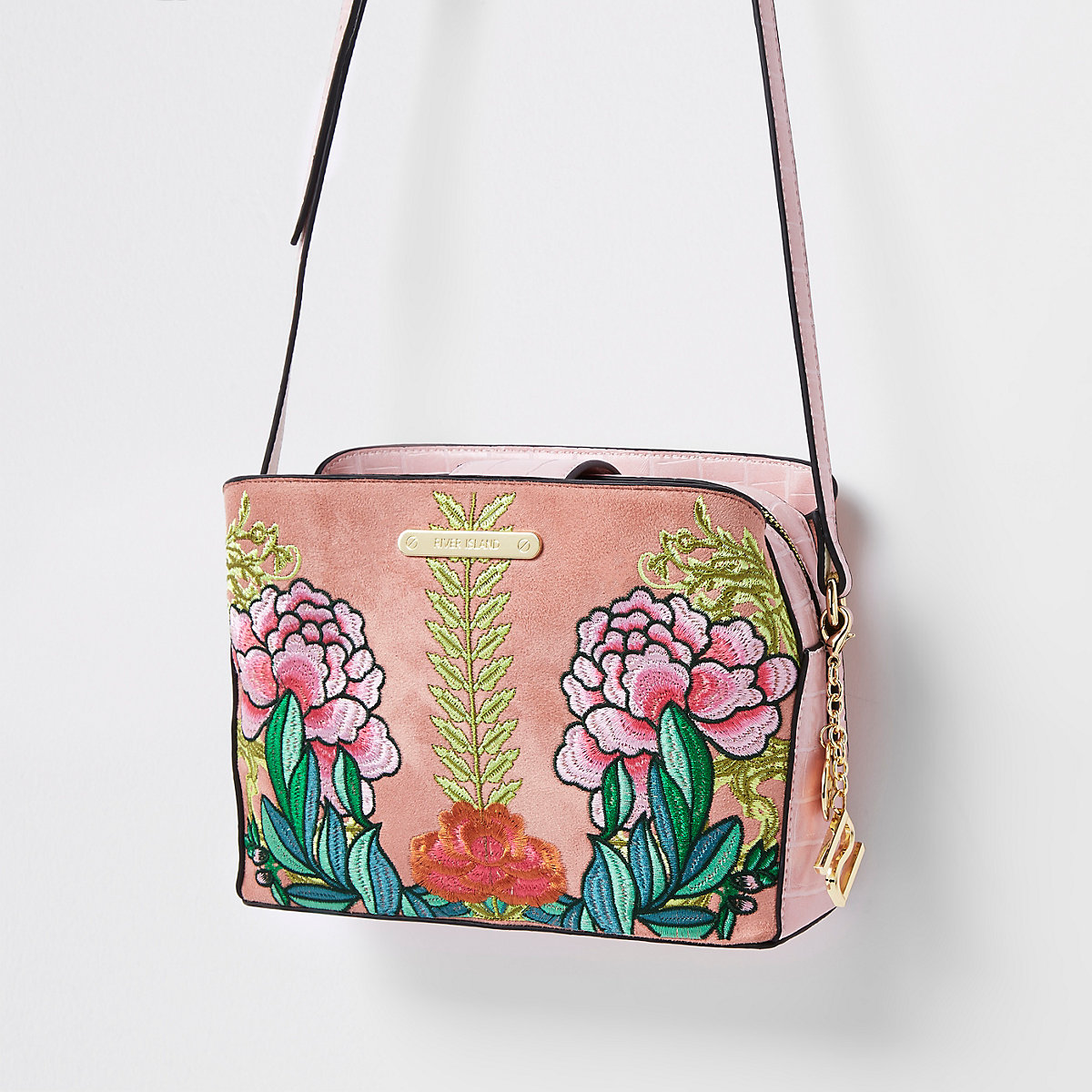 Pink floral open top triple compartment bag