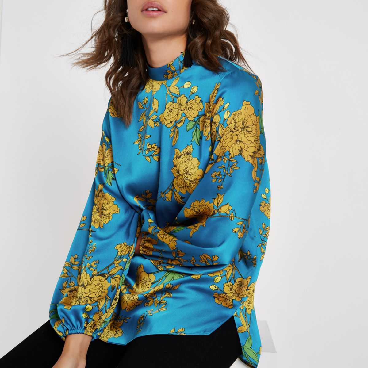 Blue floral high neck top