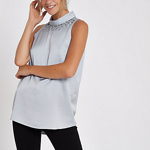 Light grey embellished neck shell top