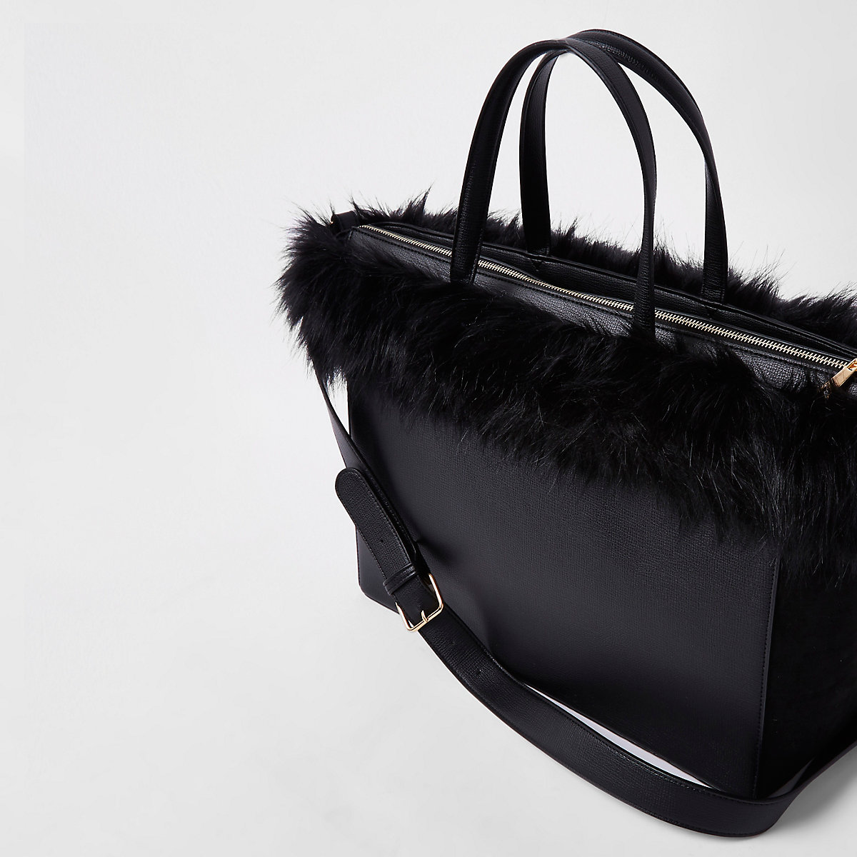 49a43d384858 Black faux fur trim winged tote bag - Shopper   Tote Bags - Bags ...