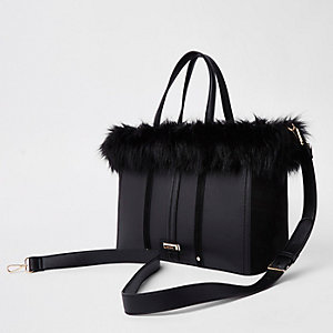 Black faux fur trim winged tote bag