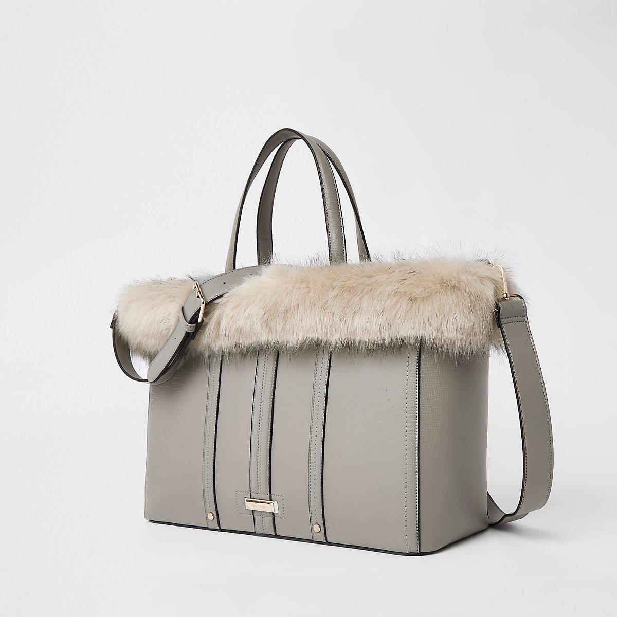 Light grey faux fur trim winged tote bag