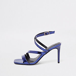 Purple patent asymmetric strappy sandals