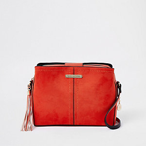 Red triple compartment bucket cross body bag