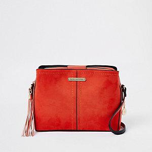 Rode crossbodytas met drie vakken