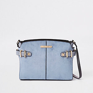 Blue tab side cross body bag
