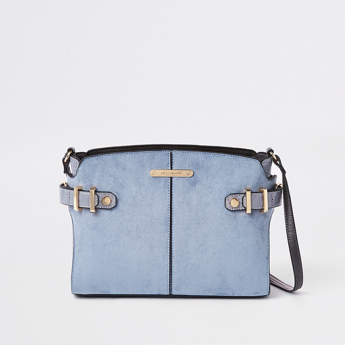 Blue tab side cross body bag