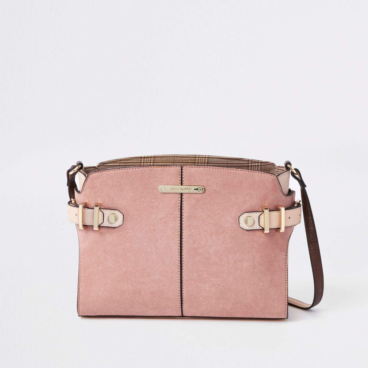 Beige tab side cross body bag