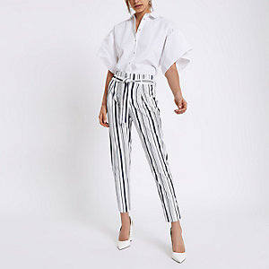 Navy stripe tapered leg trousers