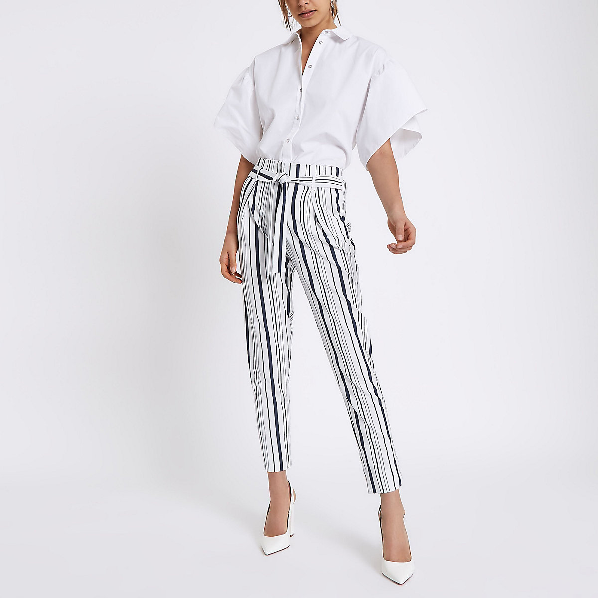 Navy stripe tapered leg pants