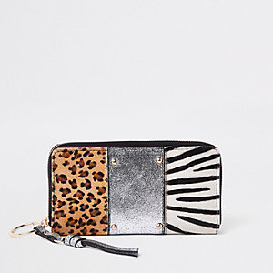Silver leather animal panel zip around purse