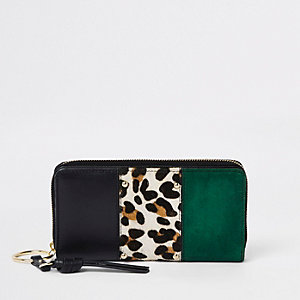 Dark green leather panel leopard print purse