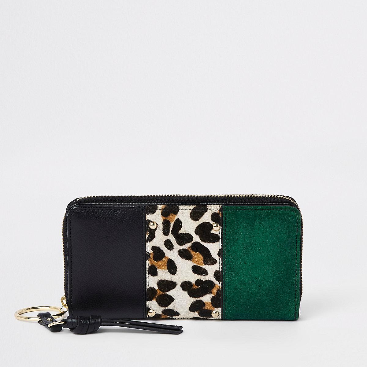 Dark green leather panel leopard print purse