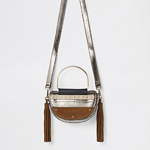 Gold leather half moon cross body bag