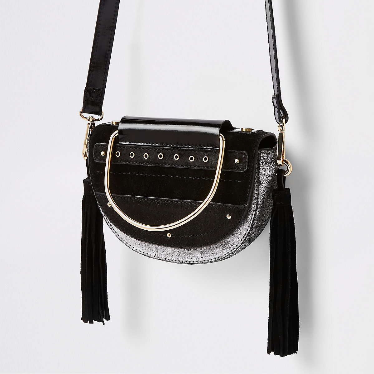 Black leather half moon cross body bag